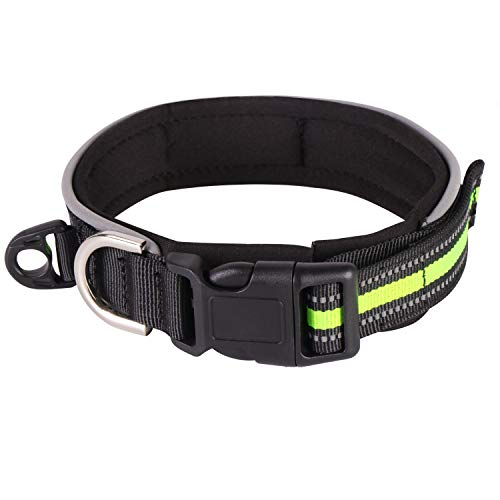 Velcro Nylon Reflective Strap Dog Collar with Fast Wear Buckle, Soft Stretch Resistant Dogs Collar with Metal Rope Ring for Small Large Medium Dogs, Green