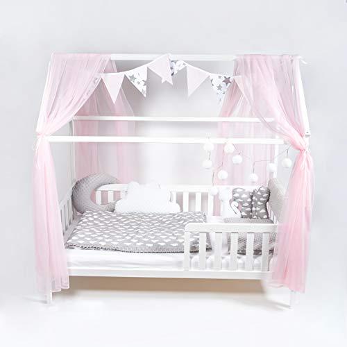 ALCUBE Rosa Deko Set für Hausbett bestehend aus Baldachin, Wimpelkette und Lichterkette