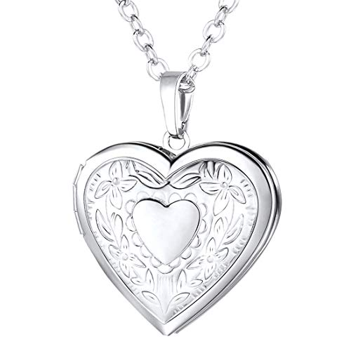 U7 relicarios guardapelos Colgantes Corazón Collares para Mujeres Accesorio Jersey Material Cobre ecológico Cadenas Modernas para Madres Tono Plateado