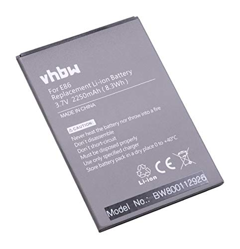 vhbw Li-Ion batería 2250mAh (3.7V) para teléfono móvil Smartphone Timmy E86, MPai 809t, MPie Mini 809t por E86.