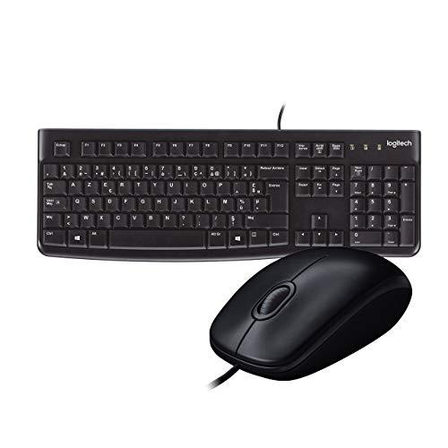Logitech Keyboard K120 Clavier AZERTY USB - Noir & B100 Souris Optique Noir