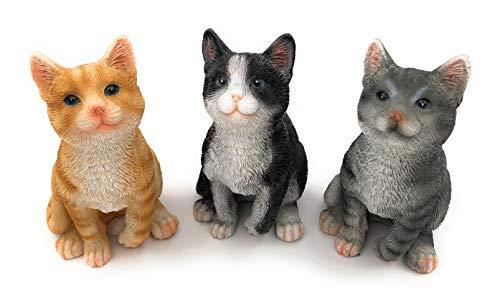 Giardino Statuetta gattino seduto 3Designs: Nero, Grigio o rosso–12cm di altezza