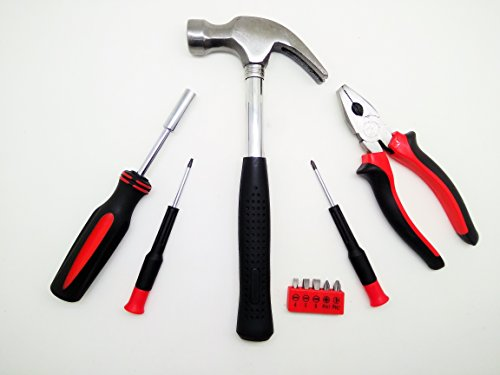 B Vishal Hand Tool Kit Hammer, Plier, Screwdriver (Black and Red) Set of 10