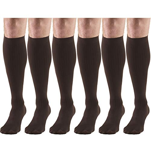Compression Socks, 30-40 mmHg, Men's Dress Socks, Knee High Over Calf Length Brown Small (6 Pairs)