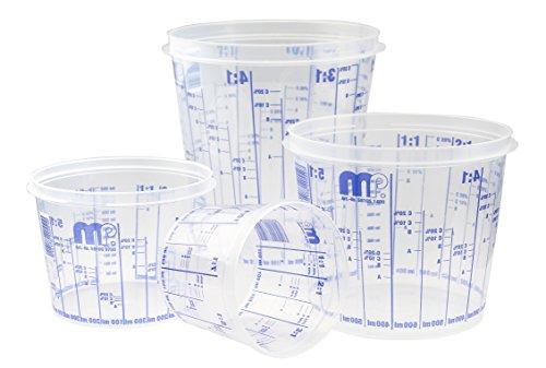 Craft-Equip MP Lackmischbecher mit Skala in Verschiedenen Größen und Mengen (50 Stück Mischbecher in 385ml)