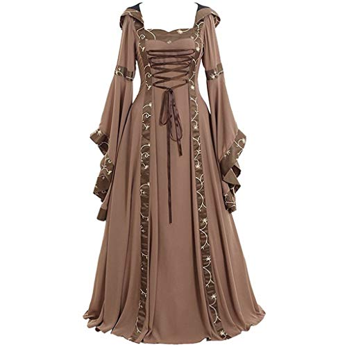 Aunimeifly Gothic Evening Party Gown Cross Lacing Maxi Dress Women's Vintage Celtic Medieval Dresses Cosplay Costume Khaki