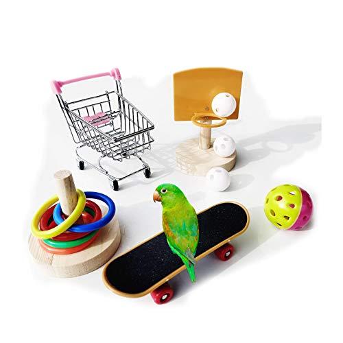 KLMYTCWSD Giocattoli pappagalli per Uccelli Set, Pappagallo Mini Carrello della Spesa,canestro da Basket e Skateboard,Anello di Allenamento,Campana, pappagalli Giocattoli per addestramento Accessori