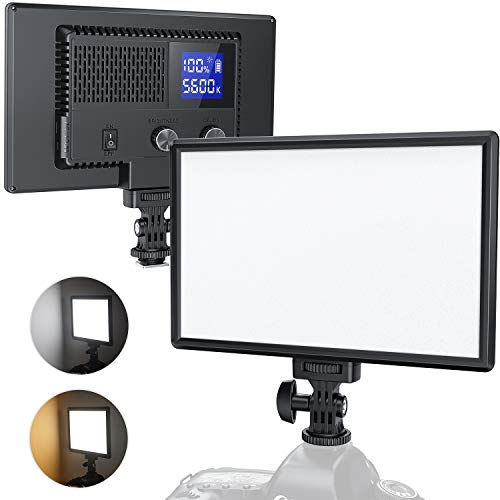 RALENO LED Video Light, Built-in Rechargeable Battery 3200K-5600K Bi-Color Brightness CRI95+ with LCD Display, Dual Power Design USB Camera Light for Baby Photography, YouTube Video, Interviews