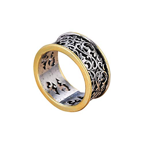 Fasclot Popular Men's and Women's Rings Creative Retro Hollow Pattern Alloy Ring