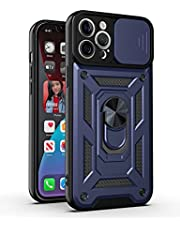 Ffish Fodral för iPhone 12 Pro Max, Militär Grad Armor med Slide Kamerafodral och Magnetisk Ring Kickstand, Blå