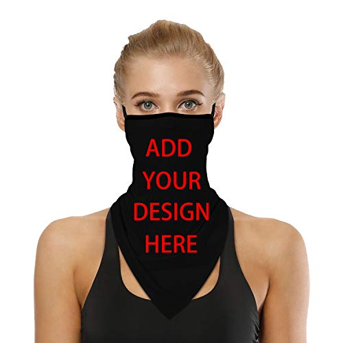 Custom Neck Gaiter Bandana with Ear Loops Triangle Face Cover for Dust Wind Motorcycle