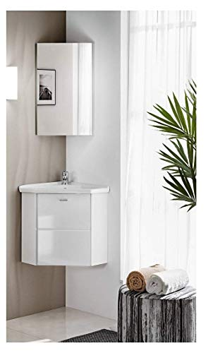 naka24 FINKA 40 cm Badmöbel Set mit Eckwaschbecken Eckschrank Hochglanz (weiß, Waschbecken Waschbeckenunterschrank Spiegel)