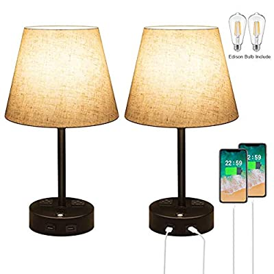 Table Lamps for Bedrooms Set of 2,Dimmable Nightstand Lamp,3 Way Touch Control Bedside Lamp with USB Port and Outlet,USB Lamp Fabric Shade for Living Room Office E26 ST64 LED Bulb Included 2 Pack