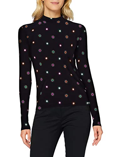 Scotch & Soda Maison Womens Printed Long Sleeve Tee with high Neck T-Shirt, Combo V 0601, M
