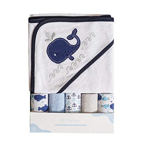 Asciugamano e salviette da bagno con cappuccio Softan Baby, extra morbido e ultra assorbente, confezione da 6 confezioni per neonati e lattanti, balena