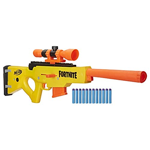 Hasbro Nerf Fortnite-BASR-L Bolt Action (Blaster con caricatore a clip, include cannocchiale rimovibile e 12 dardi originali Nerf Elite), E7522