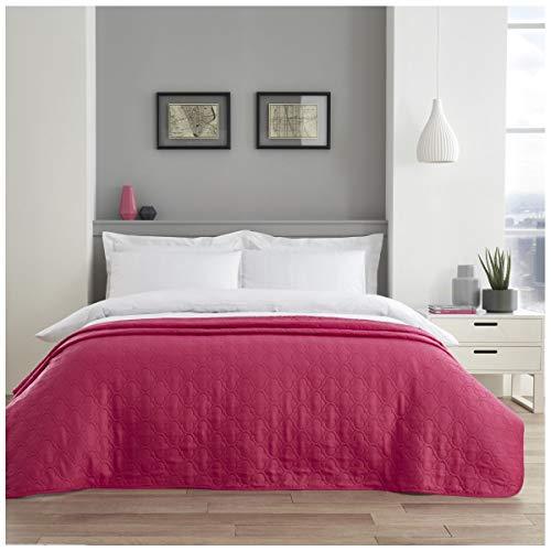 Gaveno Cavailia hohe Qualität Pinsonic Tagesdecke, leicht zu pflegen, luxuriös, Gesteppte Bettdecke für große Sofabetten, rosa Quadrifoil, Doppelgröße (150 x 200 cm), Polyester, Rose, (Double