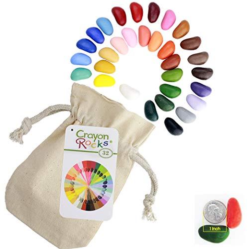 Crayon Rocks - Ungiftige Kinder SOYA-Wachsmalstifte [Stiftgriff anregend] - dauerhaftige Kreide in Einer Musselin-Tasche - 32 natürliche wachsbar Farben - zeichnen auf Papier und Stoff