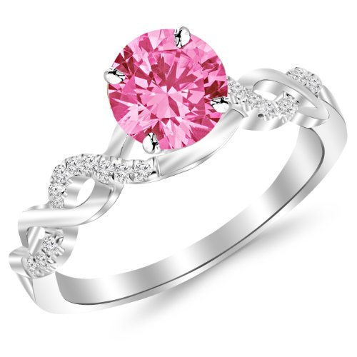 1.63 Carat 14K White Gold Twisting Infinity Gold and Diamond Split Shank Pave Set Diamond Engagement Ring with a 1.5 Carat Natural Pink Sapphire Center (Heirloom Quality)