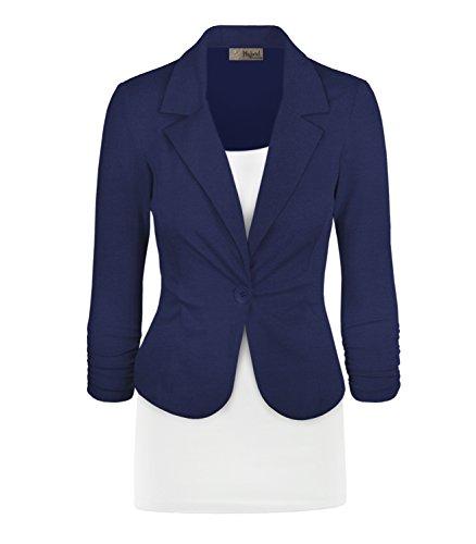 Women's Casual Work Office Blazer Jacket JK1131 Royal M