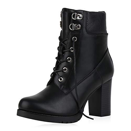 SCARPE VITA Damen Stiefeletten Leicht Gefütterte Schnürstiefeletten High Heels Blockabsatz Schuhe Leder-Optik Boots 186089 Schwarz Snake 40