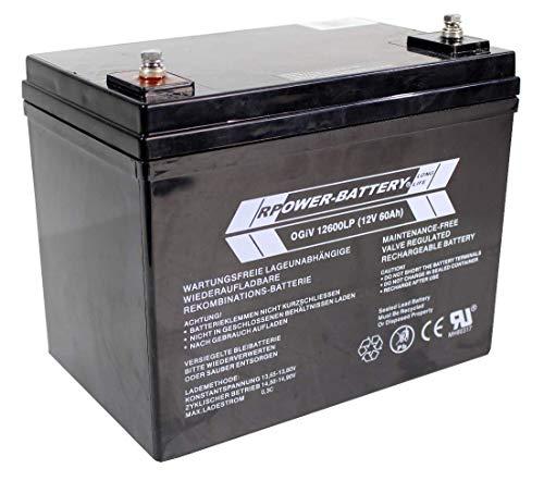12V 60Ah RPower AGM Batterie / Bleiakku USV Akku Notstrom Notlicht Bleibatterie