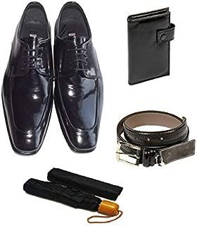 Eray Kundura Klasik Siyah Düz Erkek Ayakkabısı + Cüzdan + Kemer + Şemsiye