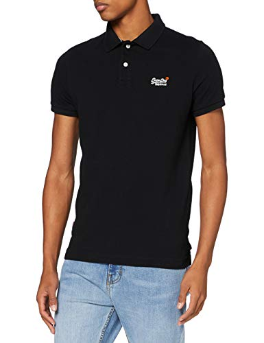 Superdry Mens Classic Pique S/S Polo Shirt, Black, XXL