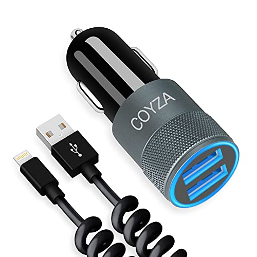 COYZA Fast Car Charger Adapter, Compatible with iPhone 13/12/11/Pro Max/Pro/Mini/X/XS/XS MAX/XR/SE 2020/8 Plus/8/7 Plus/7/6s/6/5/SE, 3.1A Dual USB Ports with Coiled Charging Cable Cord