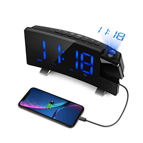 "LC.IMEEKE Projection Alarm Clock, 7"" LED Curved-Screen Large Digital Display, Adjust Brightness Automatically, 12/24 Hour,Dual Alarm Clock with 2 Alarm Sounds, Projection Clock on Ceiling (Blue)"