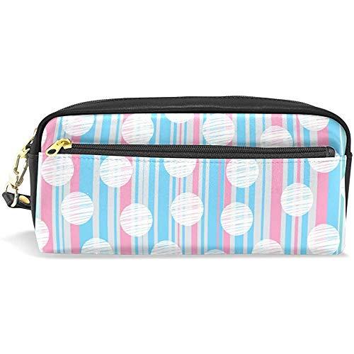 Makeup Brush Bag,Estuche Para Lápices Con Rayas Verticales Y Lunares, Estuches Duraderos Para Viajes Escolares Al Aire Libre