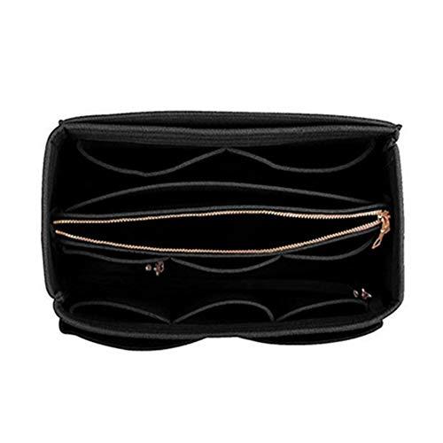 Trousse à maquillage portable en feutre avec poche amovible (26–15 cm, rouge vin), Pas de zéro, Noir , 26 15 15cm