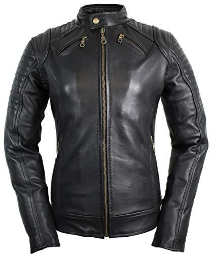 MDM Damen Motorradjacke mit Protektoren in schwarz (XL)