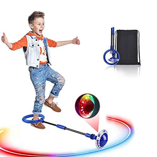 Swing Wheel mit Lichtrad, Kinder Blinkender Springring Fußkreisel, Faltbare Glühender Springender Ball, lustiges Spielzeug für Kinder und Erwachsene, Outdoor-Hüpfspiel (Blau)