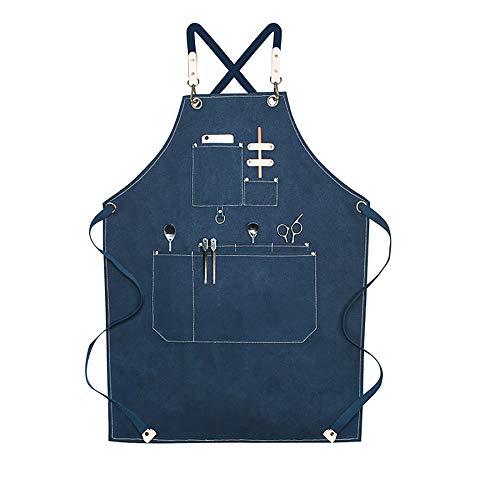 Delantal profesional del cocinero para hombres, correa de hombro ajustable y delantal de la correa cruzada de bolsillo para el chef barbero lienzo con los bolsillos, tamaño M-XXL,Azul