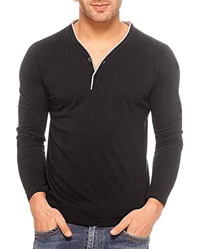 Cenizas Men's Full Sleeves V Neck Henly Casual Tshirt/T-Shirt Black