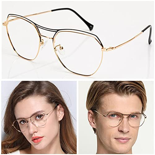 +2.0 Gafas de Lectura de Gran Tamaño con Anti-Luz Azul para Hombre Mujer,Gafas de Computadora de Juego de Marco de Metal Poligonal Grande de Moda,Oro,Plata