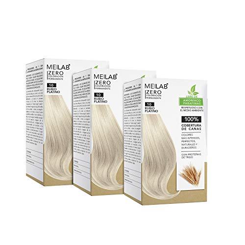 MEILAB | Permanente Haarfarbe ohne Ammoniak - 3er Pack - Hell Lichtblonde Haartönung #10