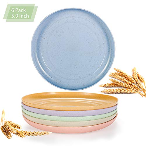 Lightweight Mini Wheat Straw Plates, OAMCEG 6 Pcs 5.9'' Unbreakable, Reusable and Eco-Friendly Dinner Plates, Dishwasher and Microwave Safe, BPA FREE, Green and Healthy Dishes for Kids, Toddlers
