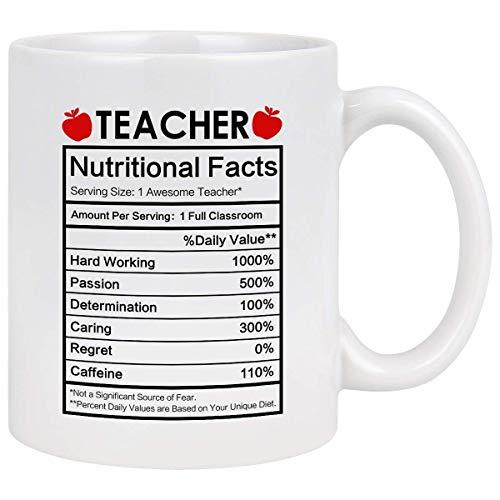 Taza de café para maestros Regalos de agradecimiento para maestros Taza de datos nutricionales para maestros Taza de café divertida Regalos para maestros para mujeres Hombres Preescolar Primaria Secun