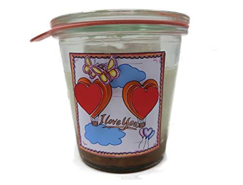 """Käsekuchen mit Walnuss-Karamell """"I Love You"""" (2005) im Original WECK-Glas mit 175 Gramm Inhalt"""