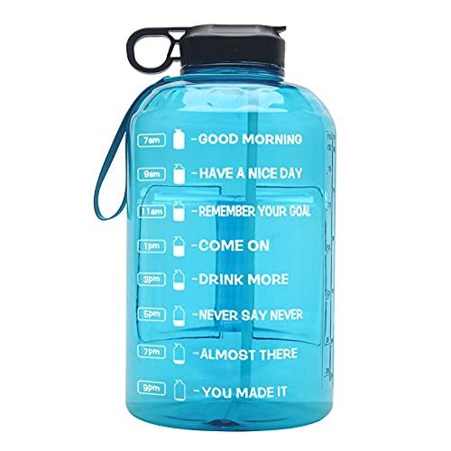 N\C Botella de Agua de 1 galón con Sello de Tiempo, Botella de Agua portátil, Botella de Agua de 1 galón con Tubo de succión, Botella de Agua Reutilizable, Lightblue