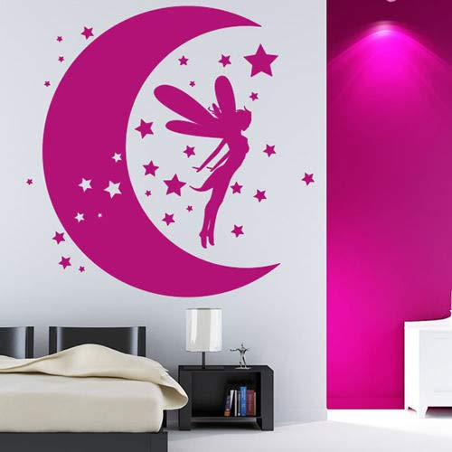 wopiaol Abnehmbare Fairy Dreams Wandaufkleber Vinyl Moon Stars Wandkunst Poster Kindergarten Mädchen Schlafzimmer Dekoration Fairy Stars Aufkleber A 57x68 cm