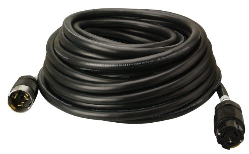 Coleman Cable 01919 50-Amp Twist-Lock Generator Power Extension Cord, 6/3 & 8/1 SEOW Black, 100-Feet