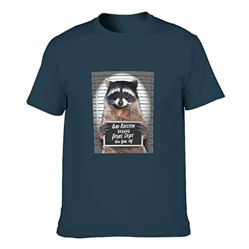 None Branded Herren T-Shirt aus Baumwolle, Waschbär, Gefängnisjail, schmale Passform,...