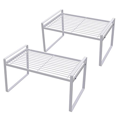 Shantton 2 Pack Kitchen Cabinet Shelf Counter Organizer Rack Pantry Storage Bathroom Bedroom Office Table Desk Space Saving Steel Frame Stackable Rust Resistant Non Slip White