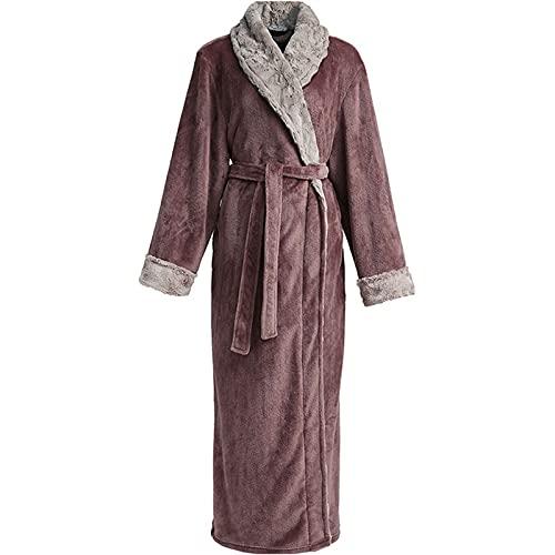 DHDHWL Albornoces Franela Albornoz Hombres Albornoz Terry Toalla Vestido Super Soft Luxury Altamente Absorbent Toweling Robes (Color : Men Coffee, Size : L)