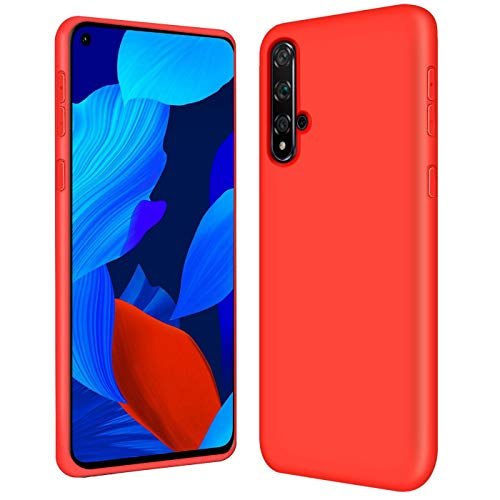 Verco Funda para Nova 5T, Suave de Silicona Líquida Carcasa Anti-Choques Case para Huawei Nova 5T Funda, Rojo