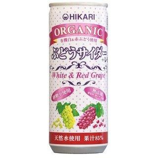 光食品 オーガニック ぶどうサイダー+レモン 250ml缶×30本入×(2ケース)