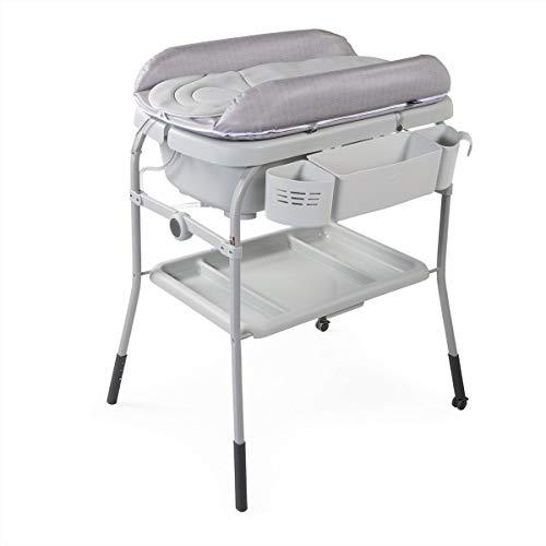 Chicco Cuddle&Bubble - Bañera y cambiador 2 en 1, plegable y compacta, peso 10 kg, color gris (Happy Silver)